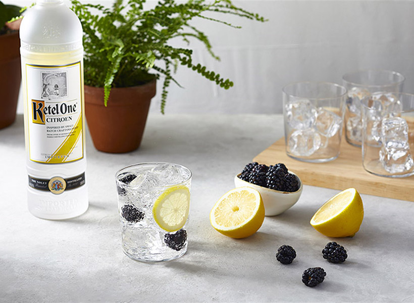 Ketel Soda with Blackberry Lemon & Ketel One Citroen Bottle - Vodka Soda Recipe - Ketel One Vodka