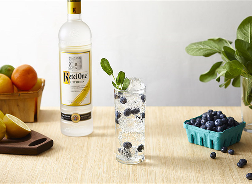 Ketel Soda with Blueberry & Sage with Ketel One Citroen Bottle - Vodka Soda Recipe - Ketel One Vodka